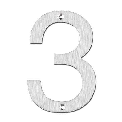 (Mellewell House & Hotel Numbers 5 Inch Stainless Steel Brushed Nickel, Number 3 Three, HN05H-3-S)