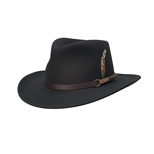 Scala Classico Men's Crushable Felt Outback Hat, Black, ()
