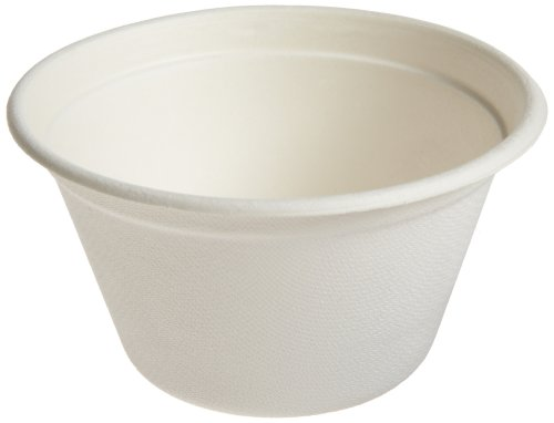 "Round Sugarcane Soup Container (Case of 500), PacknWood - Compostable and Biodegradable Soup Bowls (12 oz, 4.3"" Diameter) 210GPU350"