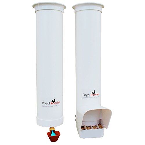 Royal Rooster Chicken Feeder with Rain Cover and Valve-Cup Waterer Set – 6.5lbs / 1 gal. (Easy Fill Drinker)