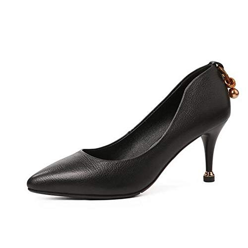 Cuero Negro Mujer Tacones Talón De Primavera Zapatos QOIQNLSN Confort Stiletto Nappa Amarillo Black 4qSntTwH
