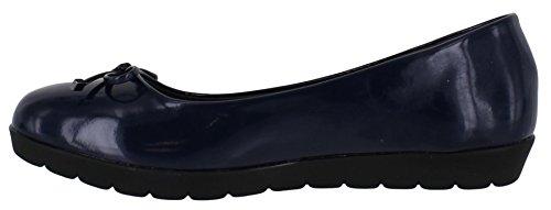 Freestep Elizabeth/Faye Womens Ballerina Comfort Smart Casual Slip On Bow Shoes Navy Patent - Elizabeth Jz6ovmZF