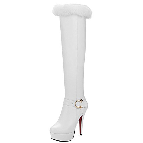 Mee Shoes Damen high heels Reißverschluss Pompon Langstiefel Weiß