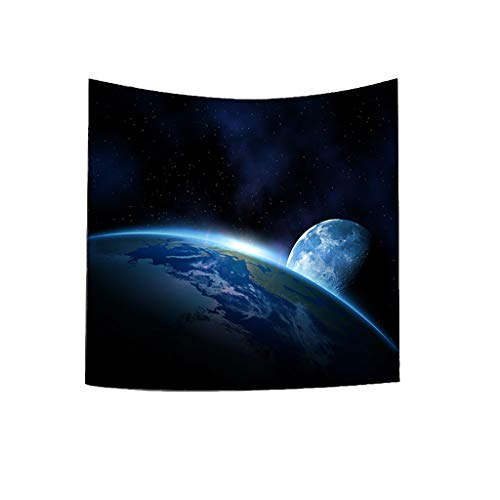 Dergo ☀ Tapestry Solar System Planet Moon Fabric Wall Tapestry Home Decor (A)