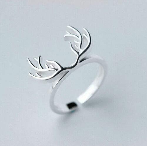 Jewelryjintarawateestore Fashion Women Silver Opening Finger Ring Elegant Deer Antler Adjustable Ring
