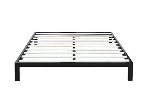"Modern 8"" Low Metal Platform Bed Frame / Mattress Foundation (Queen, Black)"