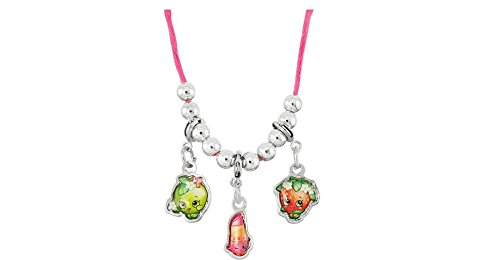 - Shopkins 3 Charms Necklace (Shopkins Lipstick, Apple and Strawberry Charm Necklace)