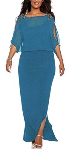Jaycargogo Femmes Surdimensionné Couleur Pure Style Robe Légère À Coupe Confortable Bleu
