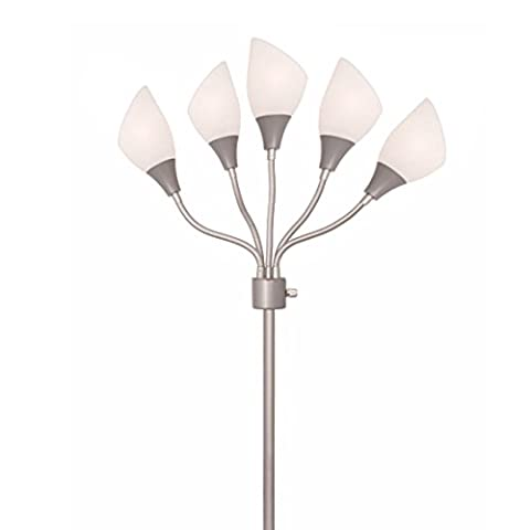 Light Accents Medusa Silver Floor Lamp with White Acrylic Shades