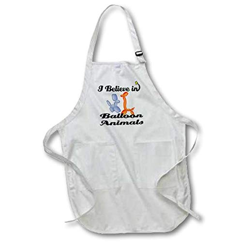 3dRose apr/_104762/_1 I Believe in Balloon Animals Full Length Apron with Pockets White 22 x 30