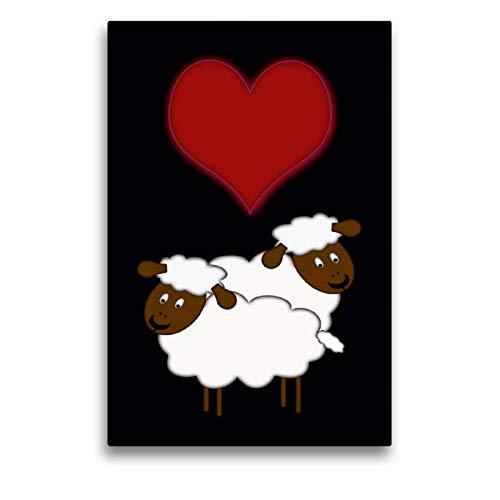CALVENDO Spass Toile en Textile de qualité supérieure Motif Moutons 50 x 75 cm