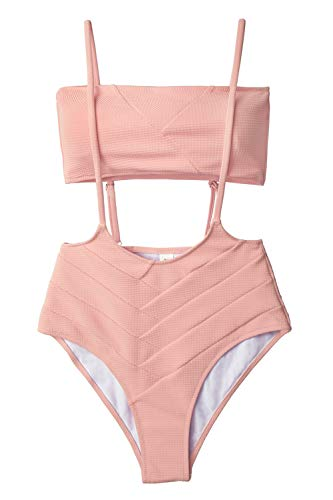 CUPSHE Women's Peach Bandeau High Waist Suspender Two Piece Swimsuit - Monokini Bandeau