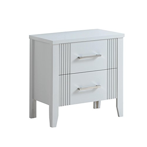 LYKE Home Franco Fluted Accent Nightstand White (Fluted Accent)