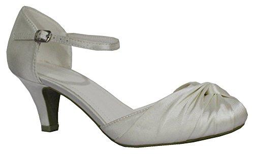 Nuziali Donna Con Da Balli Medio Fine Sandalo Per Alla E Anno Tacco Cinturino Di Scarpa Matrimoni Caviglia Feste Basso Ivory qOBxFwt