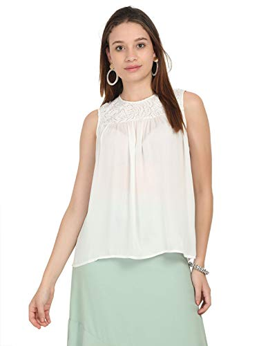 Nue Sleeveless Embroidered White Party top
