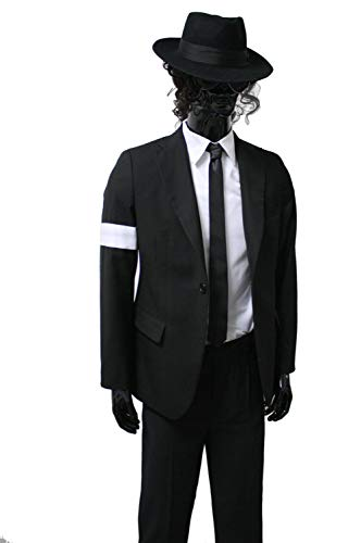 Michael Jackson Costume Adults Child Dangerous Armband Suit Black Suit Full Outfit (Height: 4.3(Slim Fit), Black) ()