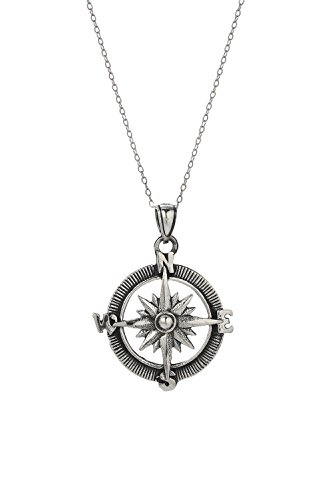 Sterling Silver Point the Way Compass Pendant Necklace, 18