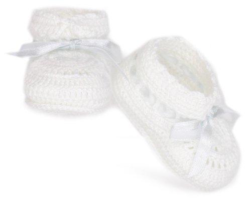 Handmade Crocheted Crib Shoe Bootie with Satin Ribbon (Handmade Crocheted Stocking)