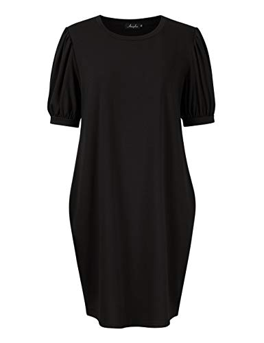 (AMZ PLUS Women's Plus Size Puff Sleeve Dress Casual Loose Fit with Side Pockets Black XL)