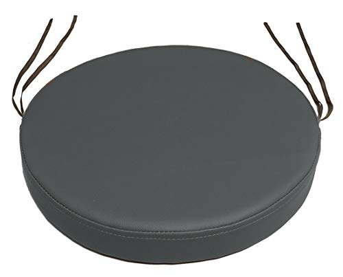 12 Round Leather - Sigmat Waterproof Thick Faux Leather Seat Cushion Round Padded Bar Stool Cushion with Strips Diameter 12 Inch Black