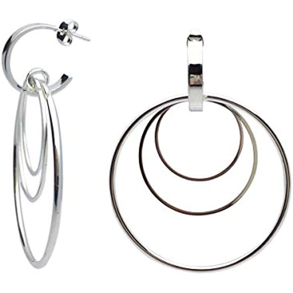 Fashion Stainless Steel Silver Ear Stud Dangle Hoop Earrings Women Jewelry New