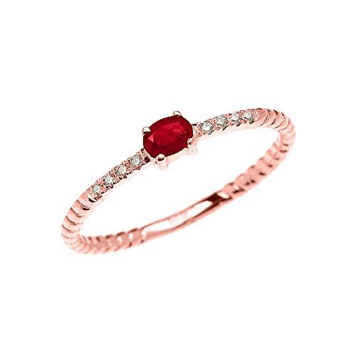 Bague Femme 10 Ct Or Rose Solitaire Rubis Et Diamant Conception De Corde