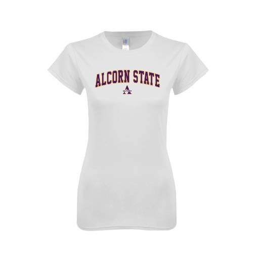 Alcorn State Next Level Ladies SoftStyle Junior Fitted White Tee 'Arched Alcorn State'