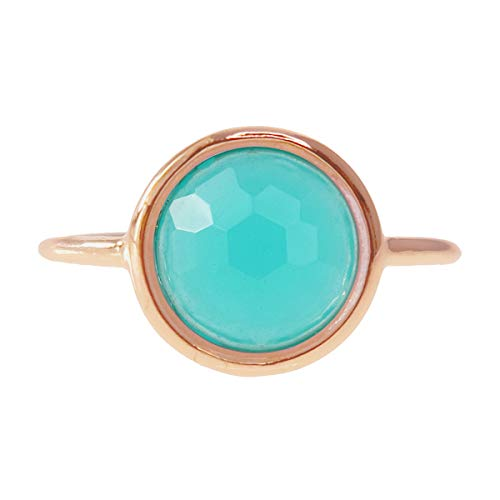 Amazonite 18k Rose Gold Clad Wholesale Gemstone Jewelry Round Ring