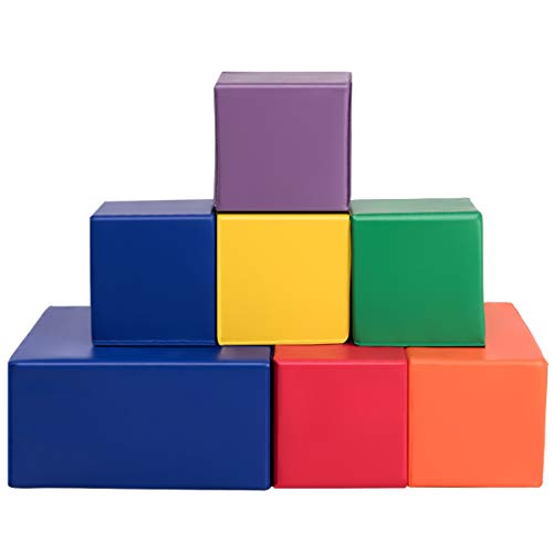 Costzon Soft Blocks, Big Foam Building Blocks, Premium PU Leather Stacking Play Set Learning Toys for Toddlers, Baby, Kids, and Preschool (7-Piece)