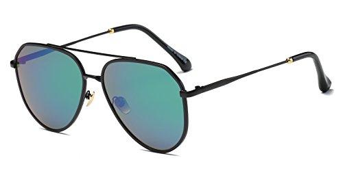 Cramilo Premium Mirrored Colored Flat Lens Aviator Sunglasses for Men & - Lens Aviator Flat Sunglasses