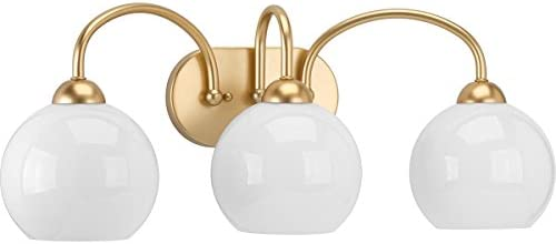Progress Lighting P300086-078 Carisa Three-Light Bath, Vintage Gold