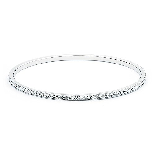 - My Jewellery Story MYJS Ready Rhodium Plated Magic Bangle Bracelet with Clear Swarovski Crystals