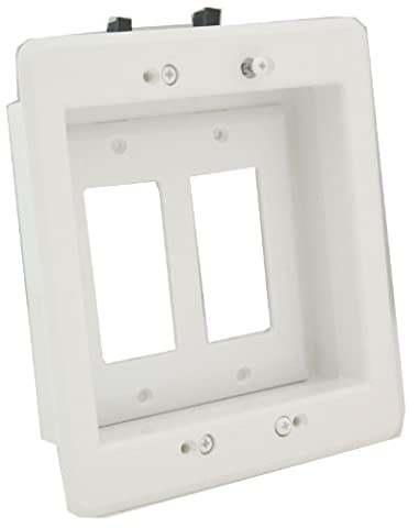 Arlington LVU2W-1 Recessed Low Voltage Mounting Bracket with Paintable Wall Plate, 2-Gang, White - Low Voltage Trims