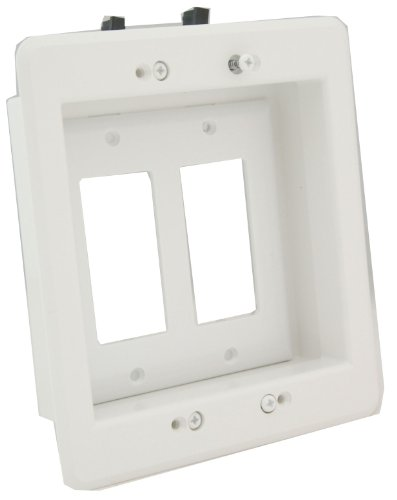 Arlington LVU2W-1 Recessed Low Voltage Mounting Bracket with Paintable Wall Plate 2-Gang White