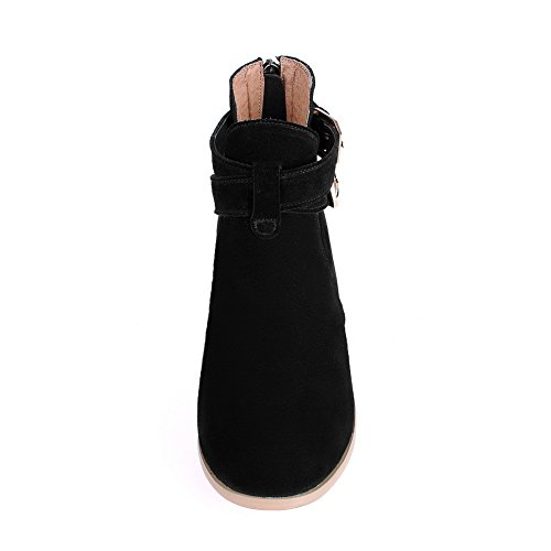 Back Square and Toe Round Black Heels Boots AmoonyFashion Closed Low Zipper Heels with Toe Women's HRnwqBT7