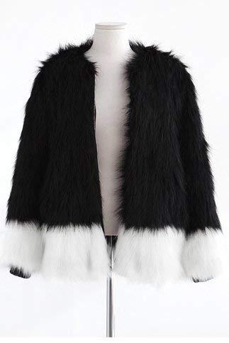 Manteau De Fourrure Femme Hiver Chaud Veste en Fourrure Duveteux Manches Longues Manteau avec Fermeture