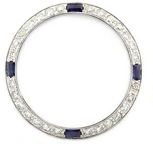 Ladies .70ct Diamond Bezel 18kw for Rolex with Sapphire