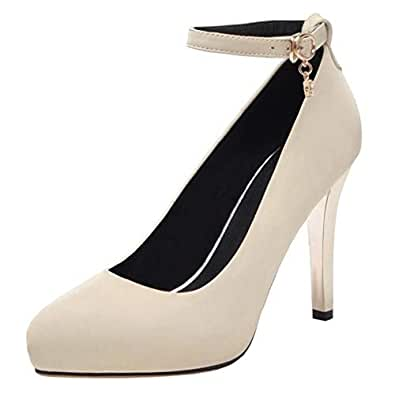 BeiaMina Women Fashion Stiletto Court Shoes Ankle Strap Office Dress Shoes High Heels Pumps Beige Size 33 Asian