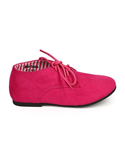 JELLY BEANS Suede Round Toe Lace Up Classic Ankle Oxford Flat (Toddler/Little Girl/Big Girl) DG66 - Fuchsia (Size: Little Kid 11) by JELLY BEANS (Image #1)
