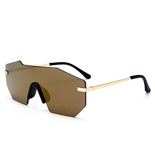 gafas lens gafas Silver una Sunglasses TL sol de pieza metálico Unisex sin grande hombre Lentes de gold UV400 herraje sola 81wwnqHf