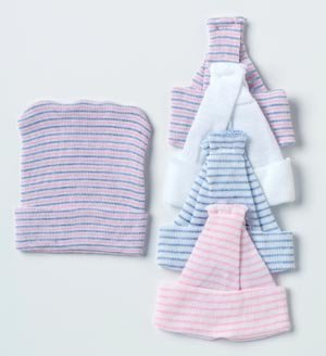 Albahealth 80016 Baby Boggan Girl Infant Cap, Multi-Stripe Material (Pack of 6) by Alba Health