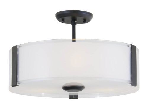 DVI Lighting DVP14511GR-SSOP Convertible Semi Flush Mount with Silk Screened Opal Glass Shades, Graphite Finish