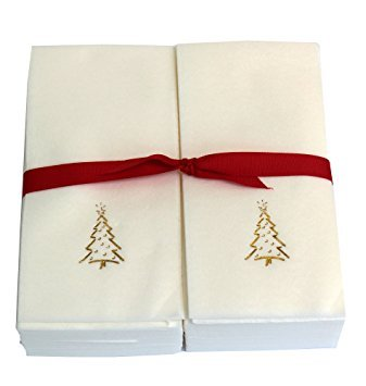 Disposable Guest Hand Towels - Embossed with Gold Christmas Tree - (Embossed Guest Towels)