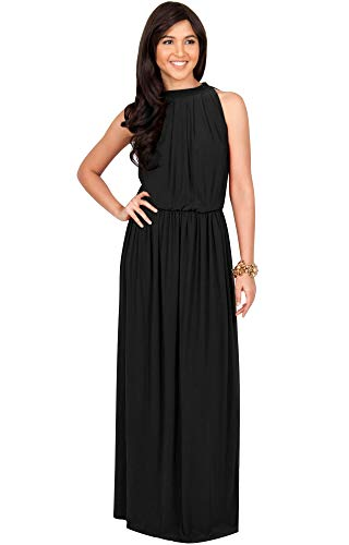 KOH KOH Petite Womens Long Sexy Sleeveless Bridesmaid Halter Neck Wedding Party Guest Summer Flowy Casual Brides Formal Evening A-line Gown Gowns Maxi Dress Dresses, Black S 4-6