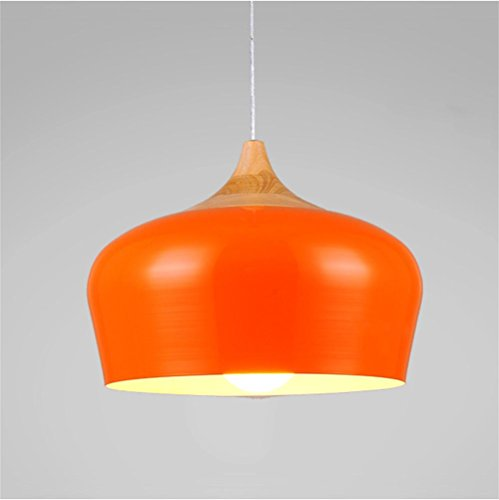 Lh&Fh Modern Industrial Retro Pendant Light Metal Cover Ceiling Light Home Decor LED Chandelier Light, Orange, Large