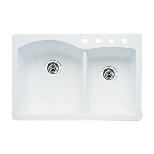 ond 4-Hole Double-Basin Drop-In or Undermount Granite Kitchen Sink, White ()