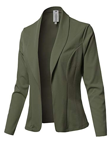 Solid Long Sleeve Open Front Office Blazer Jacket Olive 3XL