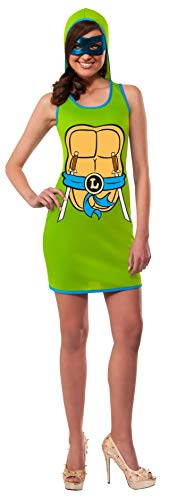Rubie's Women's TMNT Classic Costume Leonardo Hooded Tank Dress, Green, Small