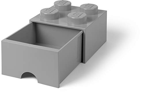 LEGO Brick Drawer, 4 Knobs, 1 Drawer, Stackable Storage Box, Medium Stone Grey (Lego Storage Containers Grey)