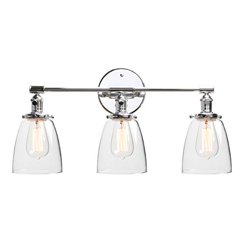 Phansthy 3 Light Bathroom Vanity Light Industrial Wall Sconce with ON/Off Button and 5.6 Inches Dome Clear Glass Shade, Polished Chrome